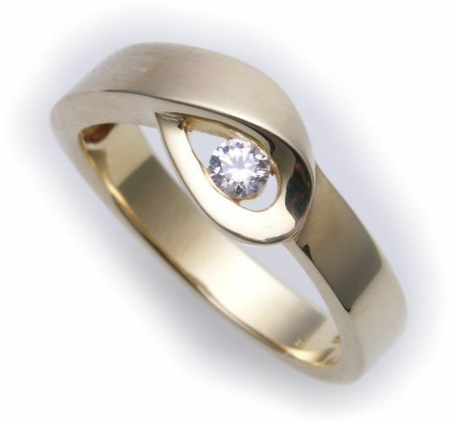 Damen Ring echt Gold 585 Brillant 0,13 carat 14kt Gelbgold Diamant