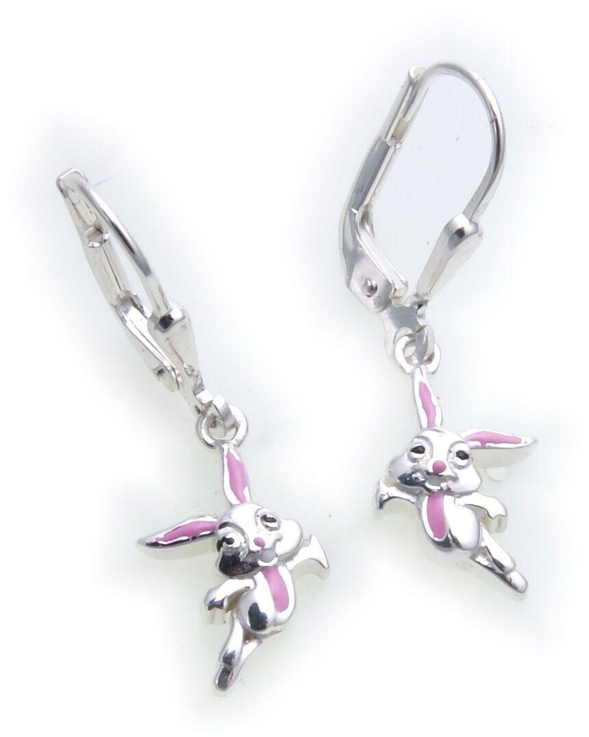 Ohrhänger Hase Kaninchen Silber 925 Sterlingsilber plastisch Häschen Ohrringe