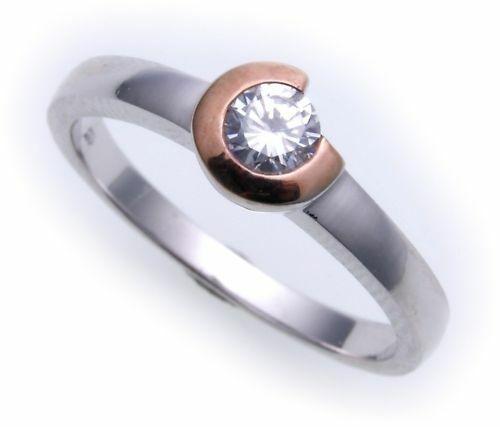Damen Ring echt Weißgold 333 Zirkonia rotverg. Gold 333er-
