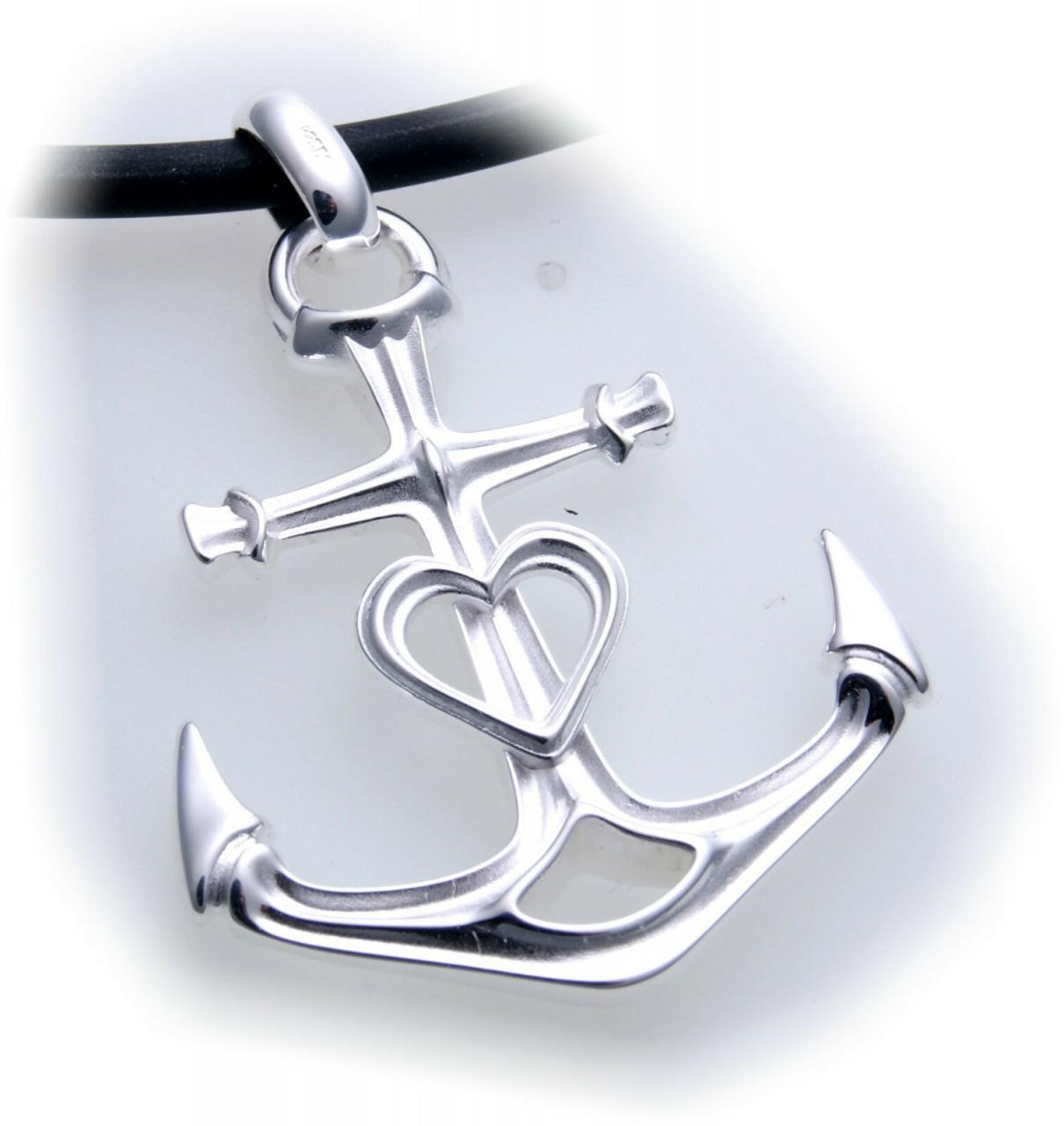 Anhänger Glaube Liebe Hoffnung groß Anker echt Silber 925 Sterlingsilber Unisex