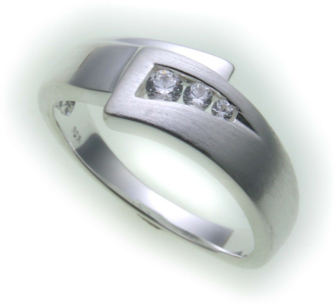 Damen Ring echt Silber 925 Zirkonia teilmattiert gute Qualität Sterlingsilber
