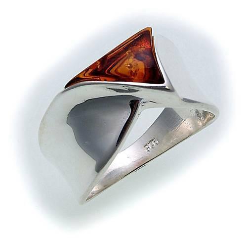 Damen Ring echt Bernstein in Silber 925 Bernsteinring Sterlingsilber Qualität