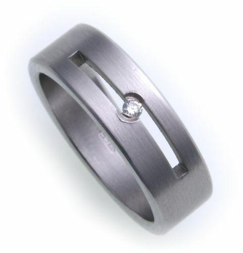 Damenring Ring Edelstahl Brillant 0,02ct mattiert Diamant Neu D1026 BR