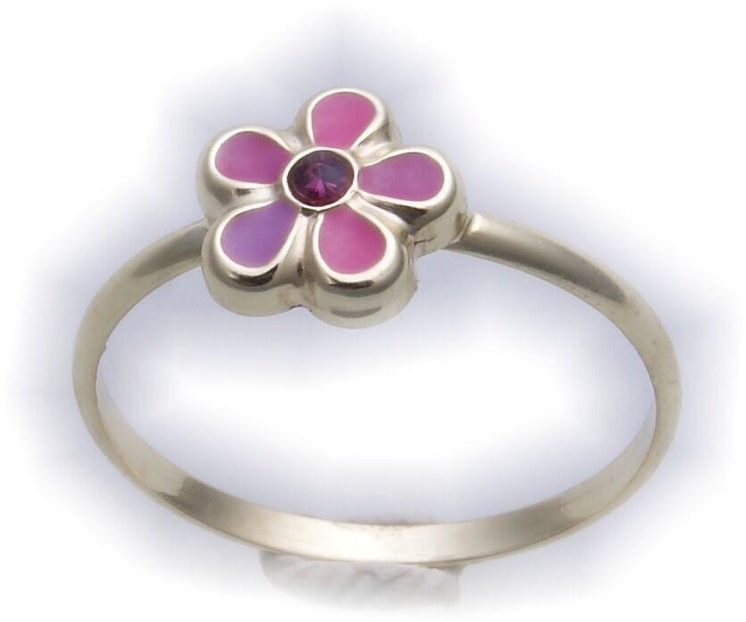 Kinder Ring Blume echt Gold 333 massiv poliert Gelbgold rosa Stein Lack