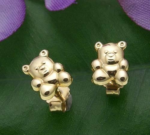 Kinder Ohrringe Stecker Bär Teddybär 585 Gold Gelbgold Qualität Neu 14 karat
