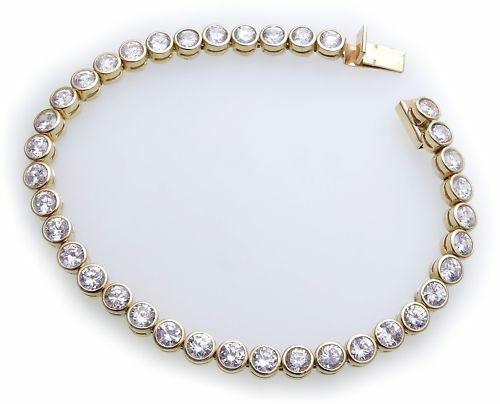 Armband Zirkonia echt Gold 333 Tennisarmband Gelbgold Qualität Damen