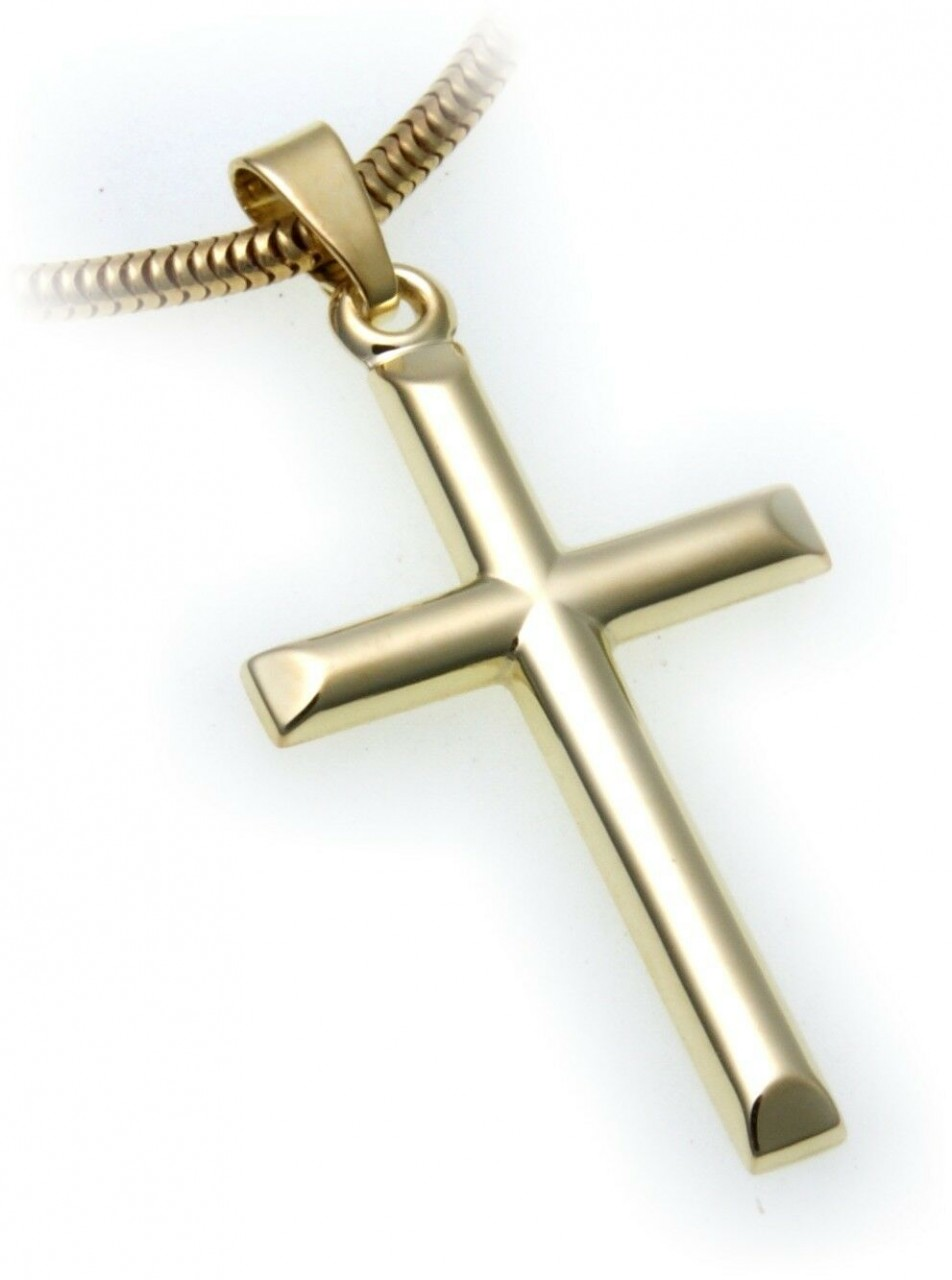 Anhänger Kreuz echt Gold 585 32 mm Glanz günstig Gelbgold Unisex