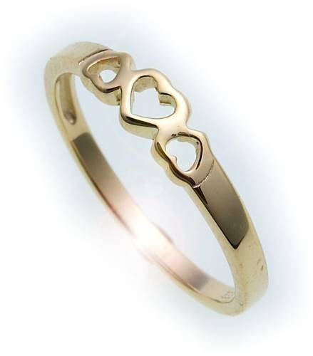 Kinder Ring Herzen echt Gold 585 massiv poliert Herz Gelbgold Qualität