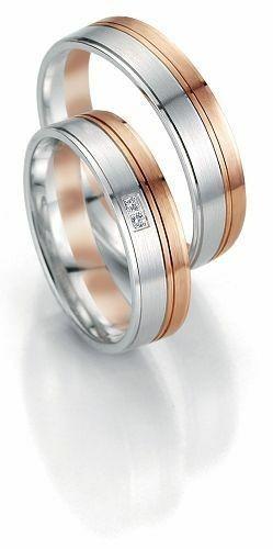 Trauringe Breuning Smartline Collection 7063/7064 in 585 Gold 14 kt weiß rot