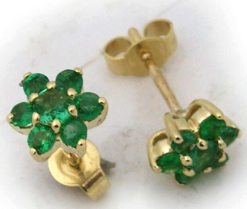 Damen Ohrringe echt Smaragd in echt Weißgold 585 Hänger Gold Grün Ohrstecker