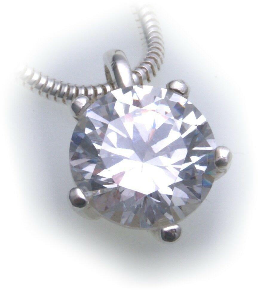exkl. Anhänger echt Silber 925 mit Zirkonia großer Stein Qualität Sterlingsilber