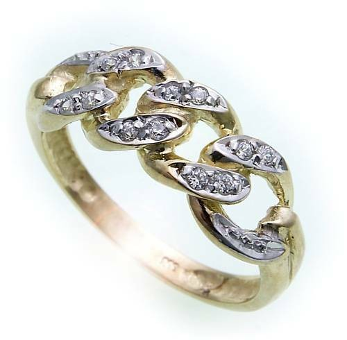 Damen Ring Brillant 0,12carat echt Gold 585 rhod. Gelbgold Qualität SI