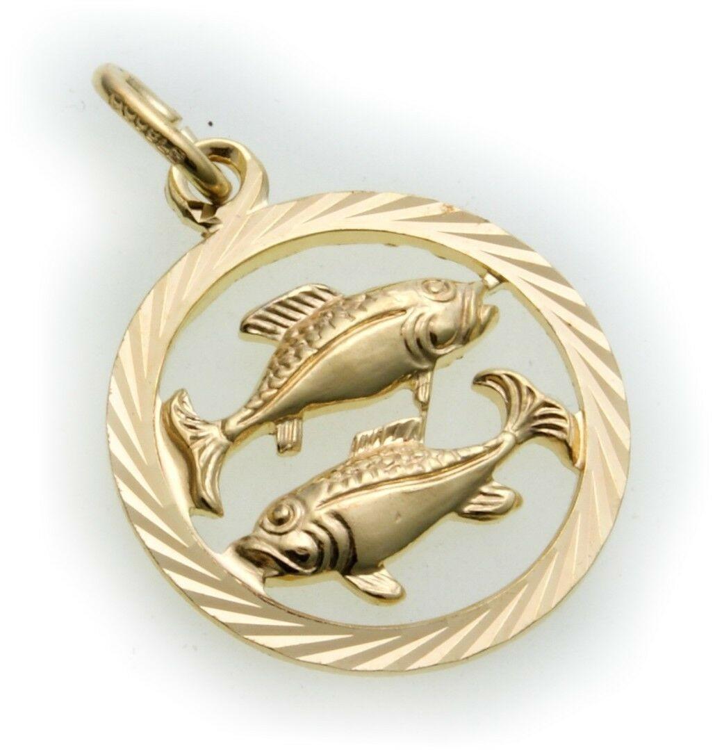Anhänger Sternzeichen Fische durchbrochen Double vergoldet groß Horoskop
