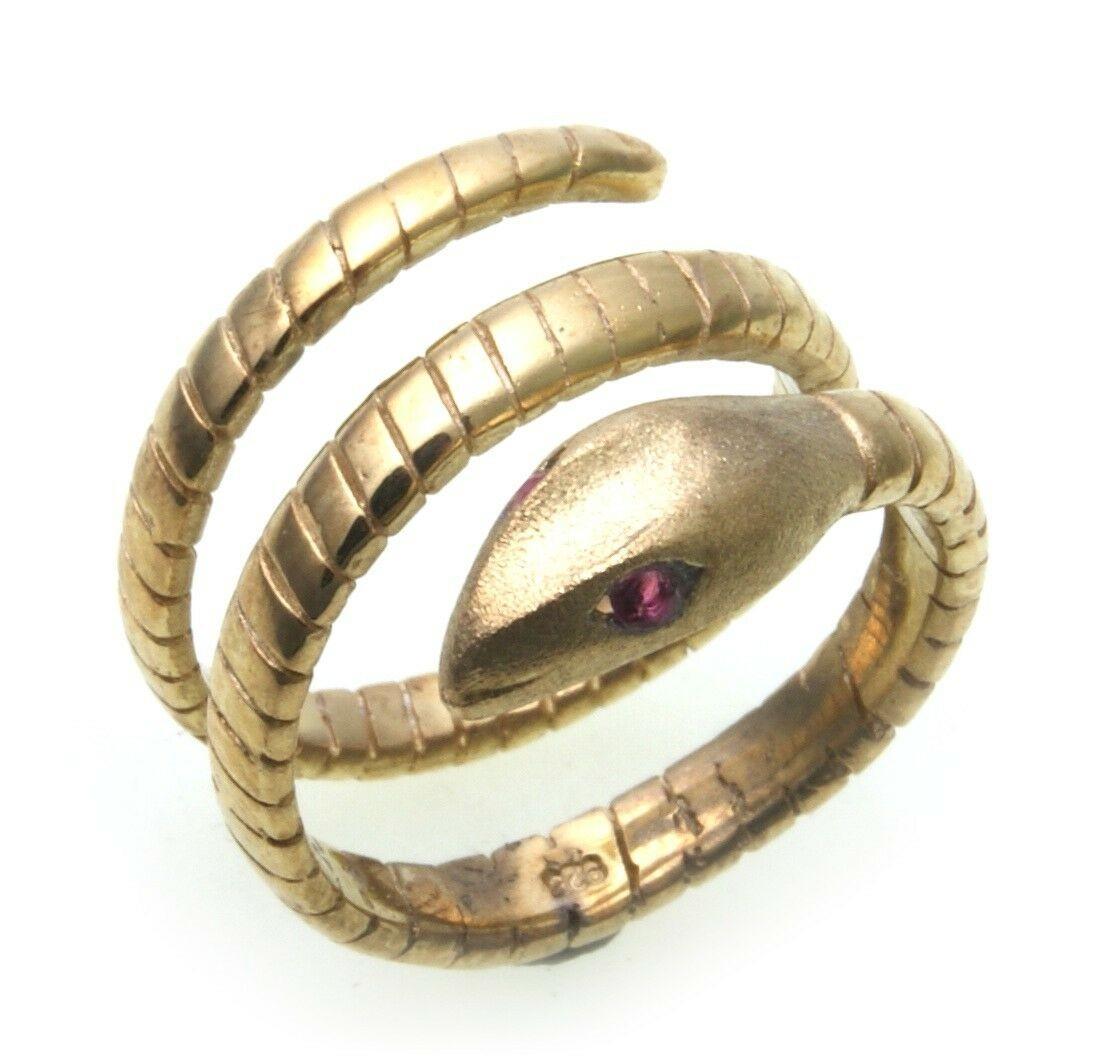 exkl. Schlangenring echt Gold 750 mit Rubin Ring Schlange 18kt Gelbgold Unisex