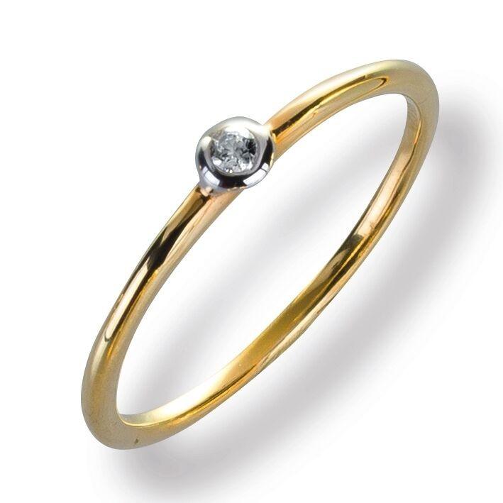 Damenring Ring Gelbggold 585 Brillant 0.03 ct. Gold Diamant Viola Luxury