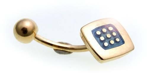 Piercing Bauchnabel Gold 750 echt Emaille blau Banane Gebogene Stäbe Gelbgold