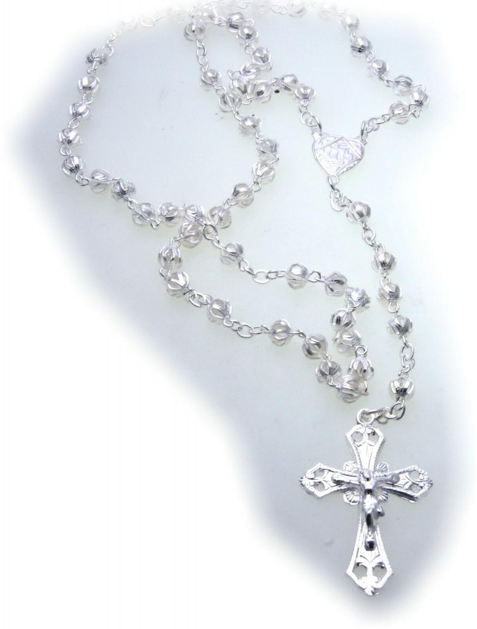 Halskette Rosenkranz Collier Kreuz mit Jesus echt Silber 800 Kugel 50 cm Unisex
