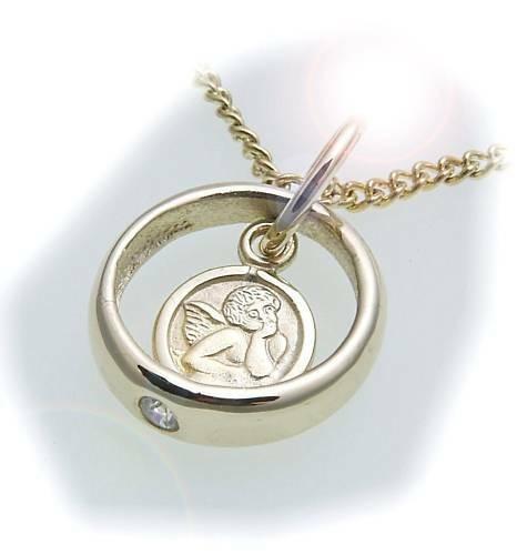Taufring mit Schutzengel echt 585 Gold Brillant 0,03 ct Diamant Taufe Qualität