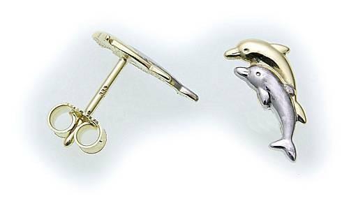 Kinder Ohrringe Stecker Delphin echt Gold 333 8 karat Ohrstecker Gelbgold Delfin