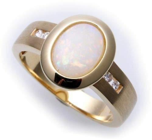 exkl Damen Ring echt Gold 585 echt Opal Brillant 0,08ct Gelbgold Diamant