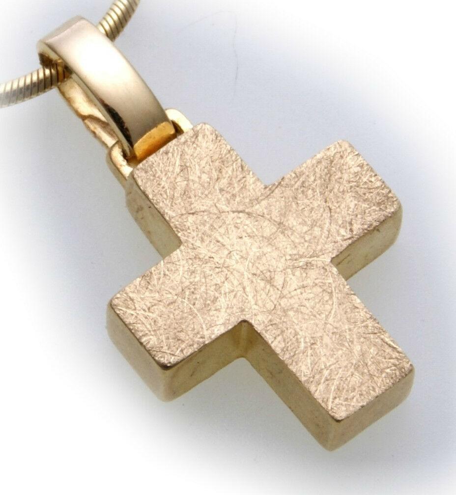 Anhänger Kreuz echt Gold 585 Eismatt günstig 14kt Qualität Gelbgold Neu Unisex