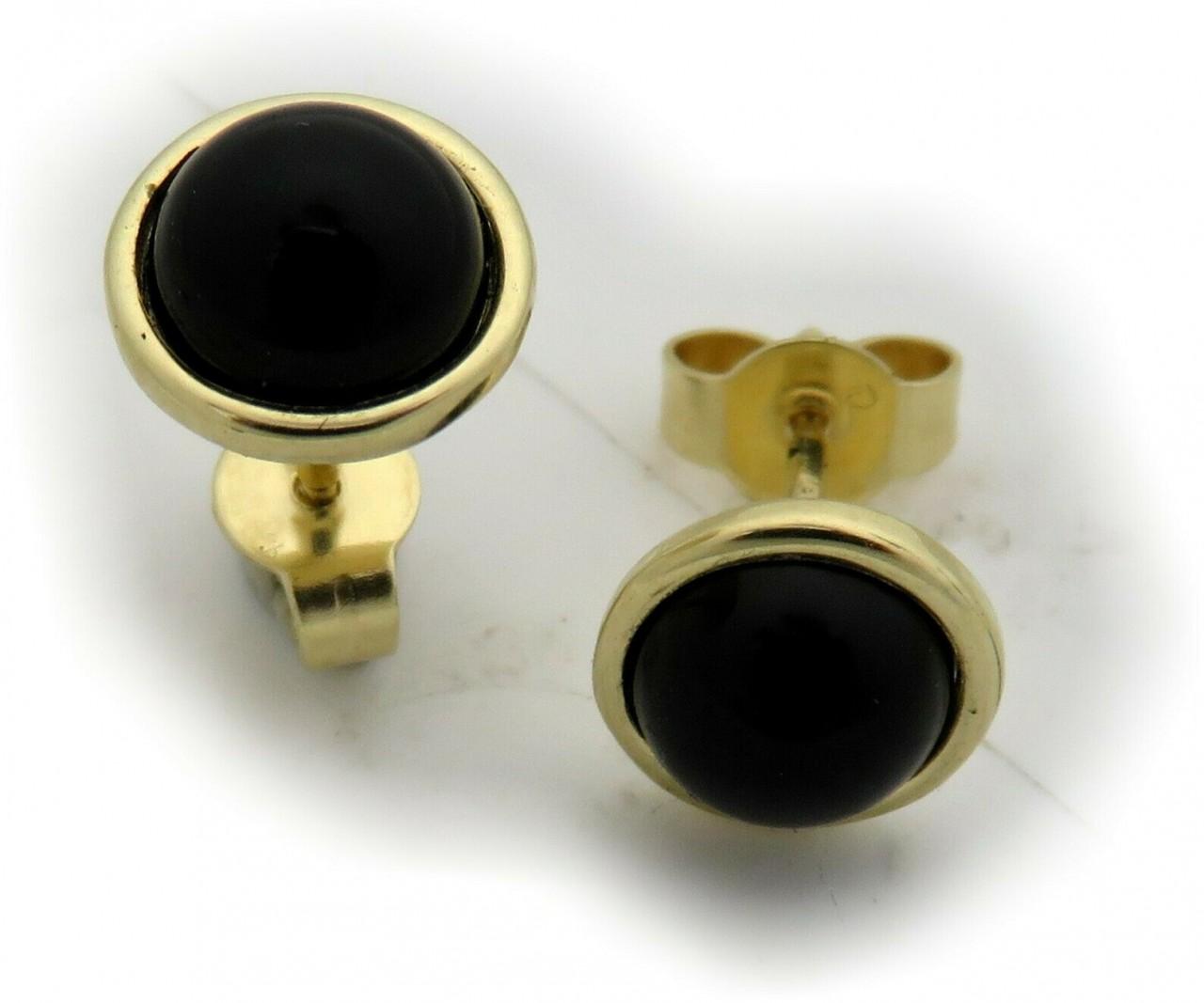 Damen Ohrringe echt Onyx Gold 333 Stecker Ohrstecker Gelbgold 8 karat 8 mm Neu