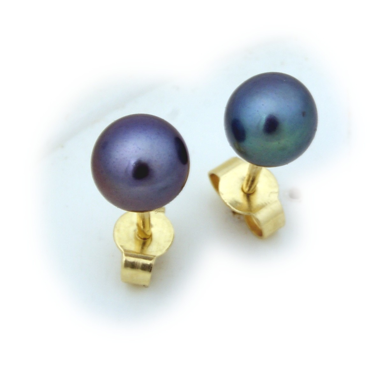 Damen Ohrringe echt Süßwasserzuchtperlen grau 6 mm echt Gold 585 Gelbgold Perlen