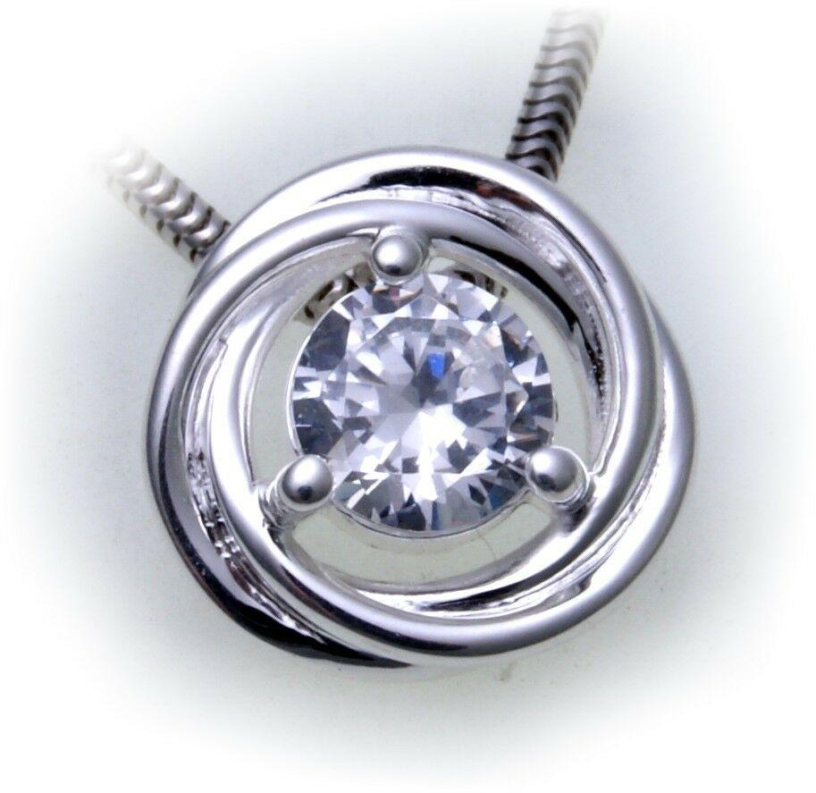 Anhänger rund Zirkonia echt Silber 925 Sterlingsilber Damen