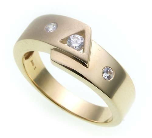 Damen Ring echt Gold 375 Zirkonia teilmatt Gelbgold 9kt Qualität