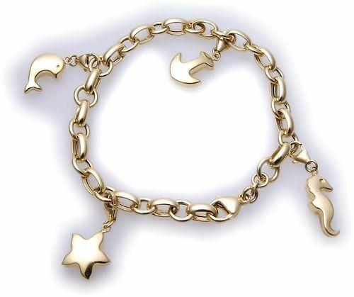 Bettelarmband Anker Delfin Seepferd in Gold 333 Charm Gelbgold Unisex