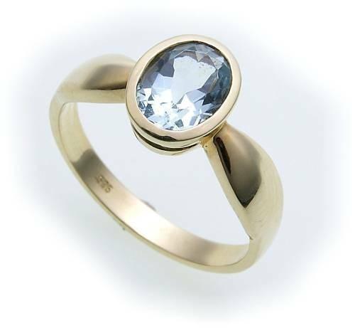 Damen Ring echt Aquamarin 8 x 6 echt Gold 333 Zarge Gelbgold