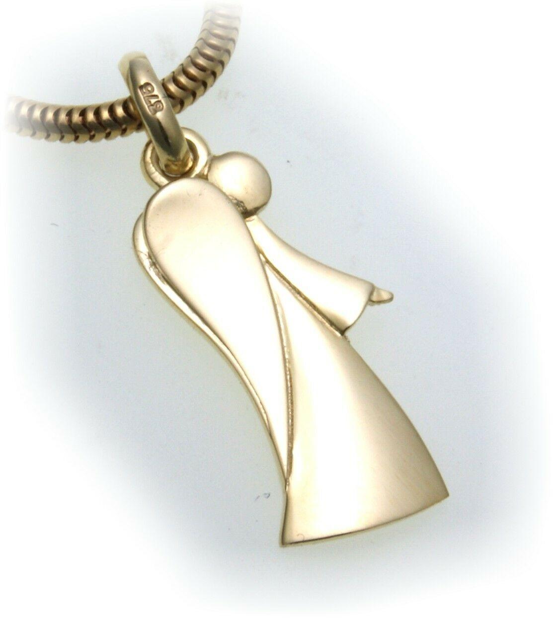 Anhänger Engel echt Gold 375 Glanz 9kt Schutzengel Qualität Gelbgold Damen