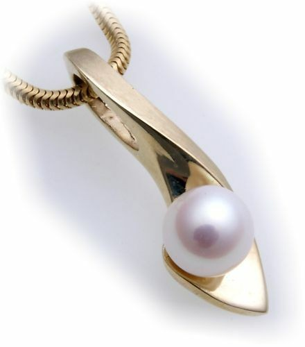 Damen Anhänger echt Gold 333 Perle 7 mm matt massiv Gelbgold Zuchtperle Neu