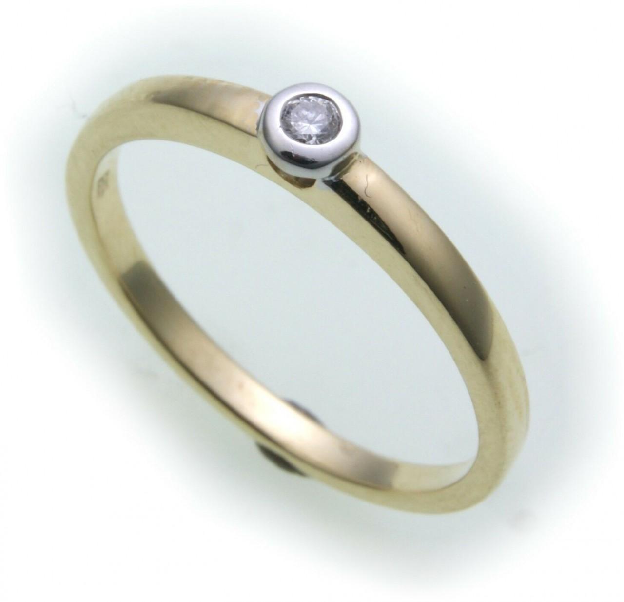 Damen Ring Brillant 0,05ct SI Diamant echt Gold 750 18k Qualität Gelbgold