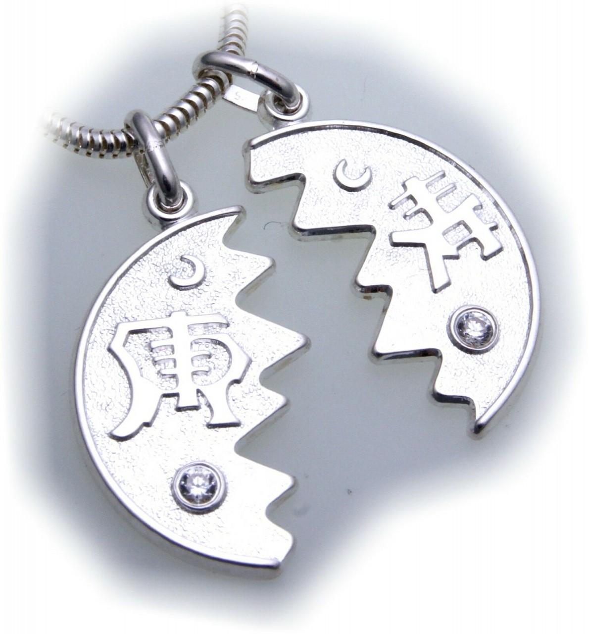 Partneranhänger Chin. Zeichen echt Silber 925 Zirkonia zum teilen Sterlingsilber