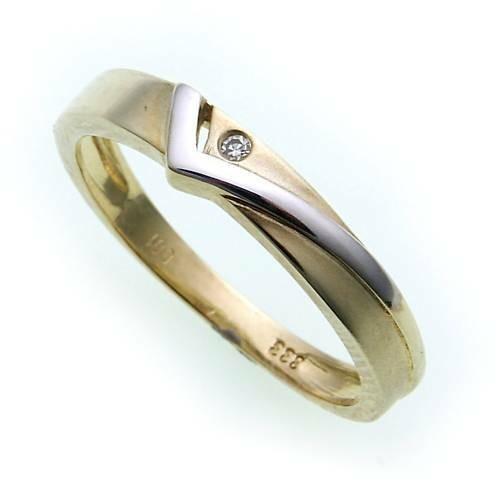 Damen Ring Brillant 0,01ct echt Gold 333 mattiert Gelbgold Diamant SI BU1526 BR