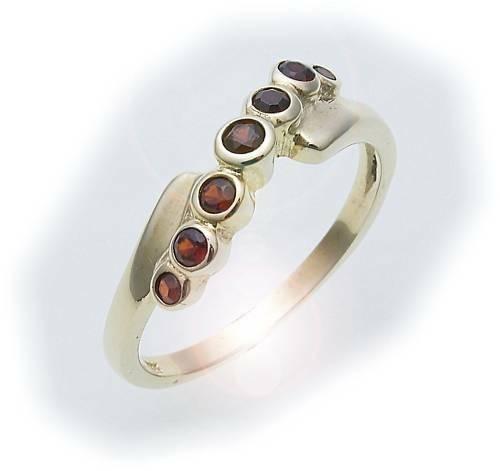 Damen Ring m. Granat in Gold 585 Gelbgold Granatring alle Weiten 8168/5GR