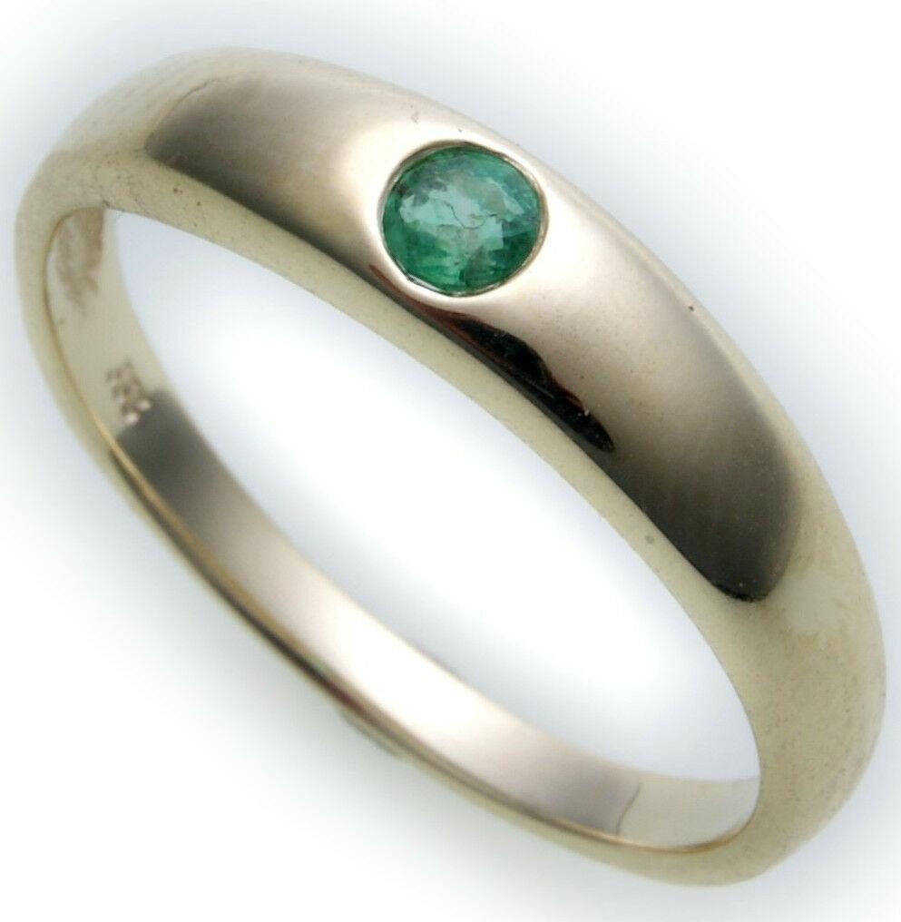 Bestpreis Damen Ring echt Gold 585 Smaragd 14kt Taufring Gelbgold Grün