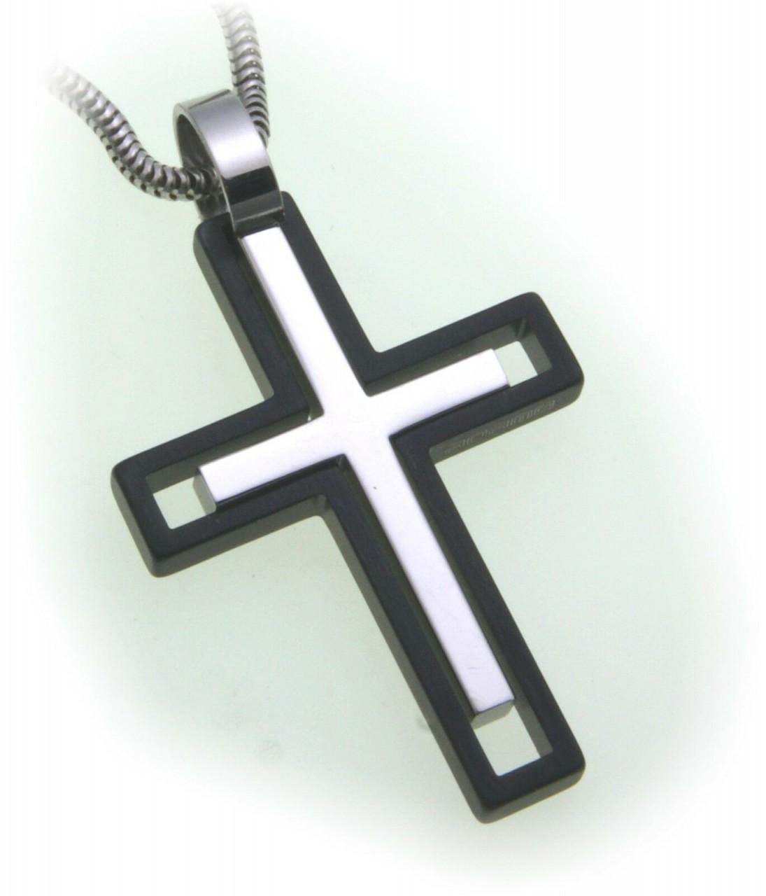 Anhänger Kreuz aus Edelstahl schwarz matt und Glanz Bicolor Qualität Neu
