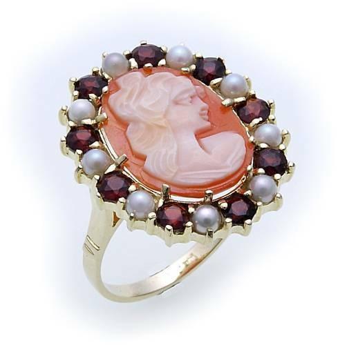 Damen Ring Granat Perlen und Muschelgemme Gold 585 Gelbgold Granatring 8908/5GR.