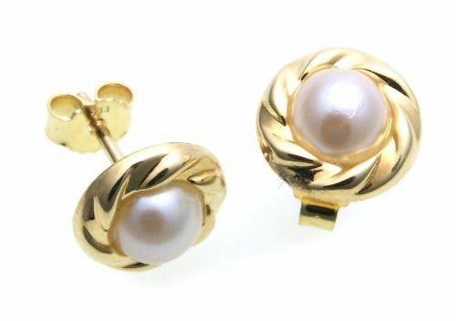 Damen Ohrringe Ohrstecker echt Zuchtperlen 5 mm Gold 333 Gelbgold Perlen Stecker