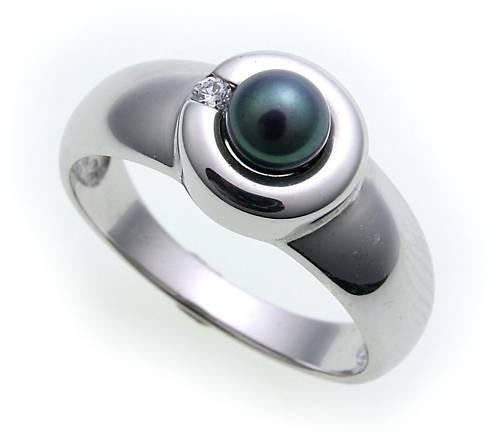 Damen Ring Süßwasserperle echt Weißgold 585 Brillant 0,02ct 14kt Perle er- Gold