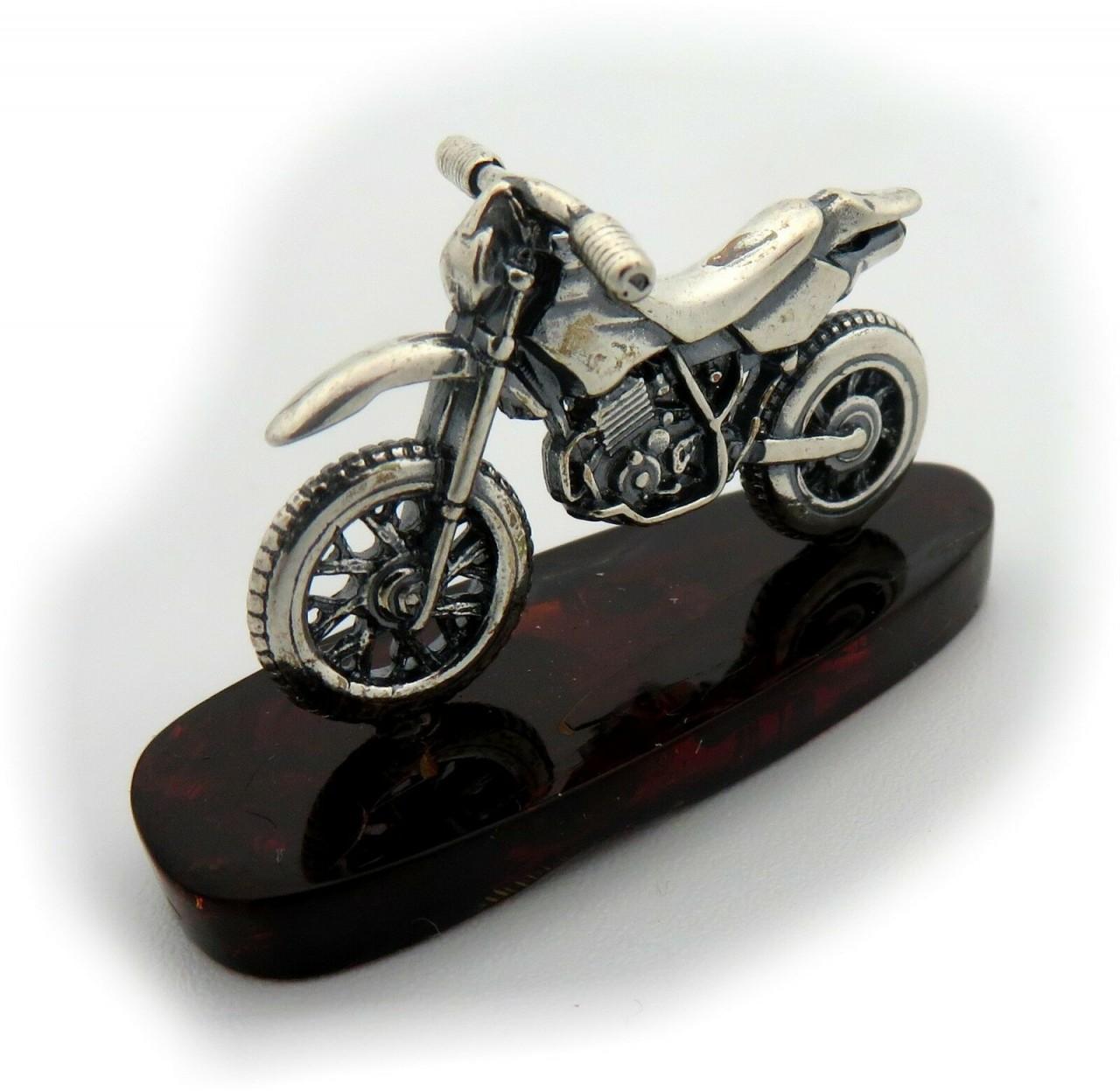 Neu Motorrad echter Bernstein aus der Ostsee Sterlingsilber 925 Enduro Moped