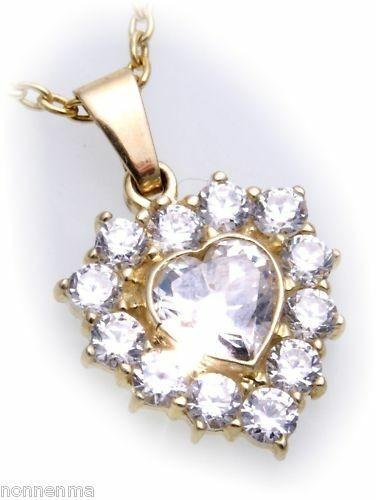 Neu Anhänger Herz Gold 333 mit Zirkonia alle Steinarten Gelbgold Damen Top