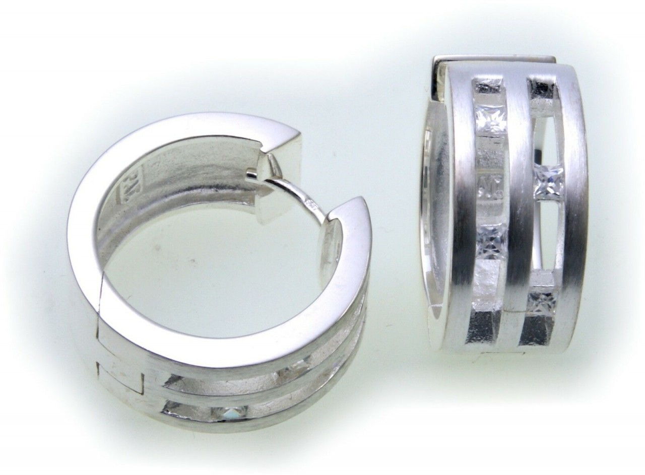 große Ohrringe Klapp Creolen Zirkonia echt Silber 925 Sterlingsilber Qualität