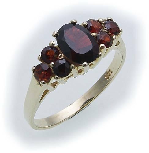 Damen Ring m. Granat in Gold 585 Gelbgold Granatring alle Weiten 8280/5GR