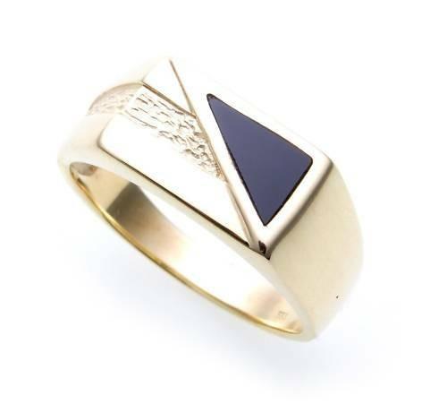 Herren Ring echt Gold 585 echt Onyx alle Steine mögl. Gelbgold Qualität