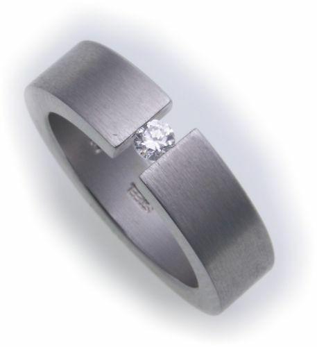 Damenring Ring Edelstahl mattiert m Zirkonia Spannring D1010 ZI