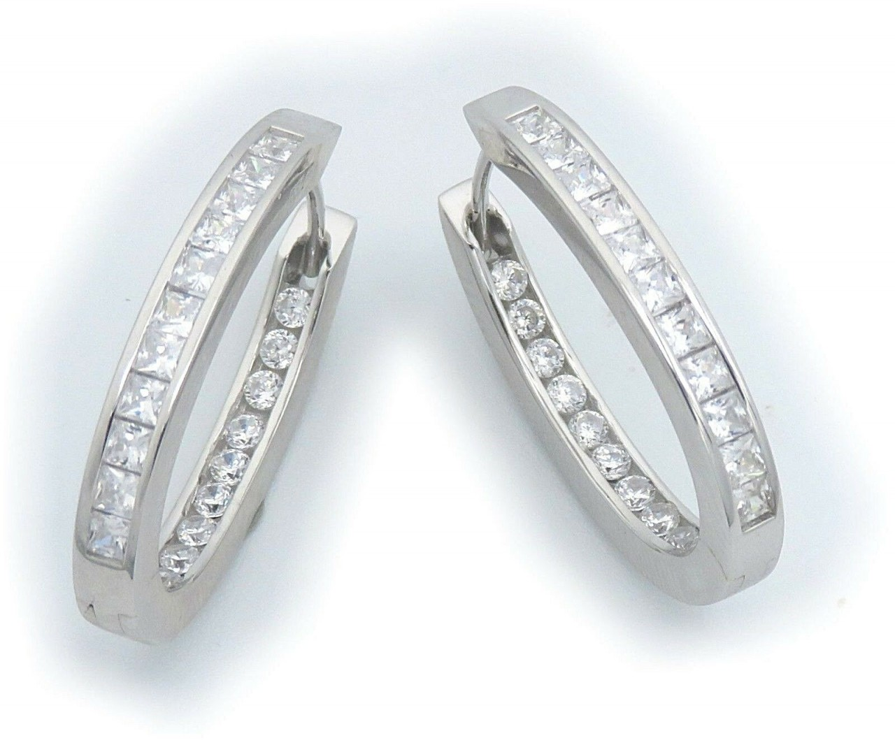 Damen Ohrringe Klapp Creolen Zirkonia hinten echt Silber 925 Sterlingsilber NEU