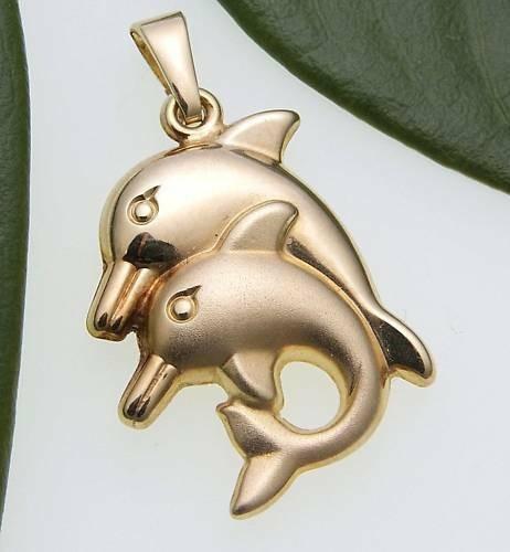 Kinder Anhänger 2 Delfin teilmatt. plastisch 585 Gold Gelbgold Qualität